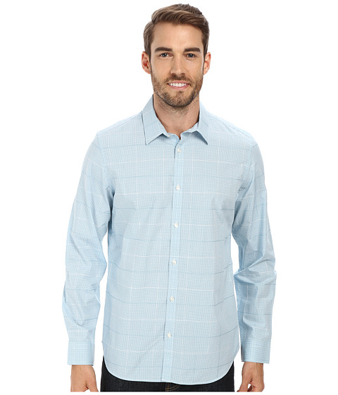 Calvin Klein - Liquid Cotton Woven Shirt (Aqua Splash) Men's Long Sleeve Button Up