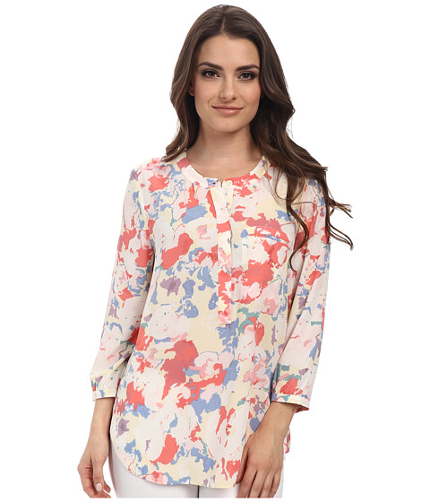 NYDJ Petite - Petite 3/4 Sleeve Pleat Back Solid (Floral Collage) Women's Long Sleeve Button Up