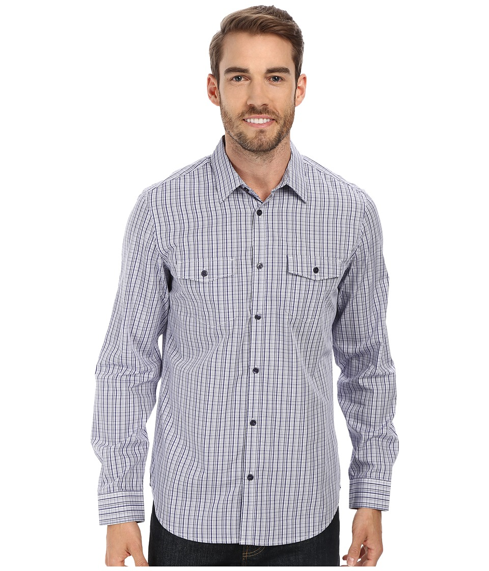 Calvin Klein - High-Low Corded Dobby Woven Shirt (Blue Depths) Men's Long Sleeve Button Up