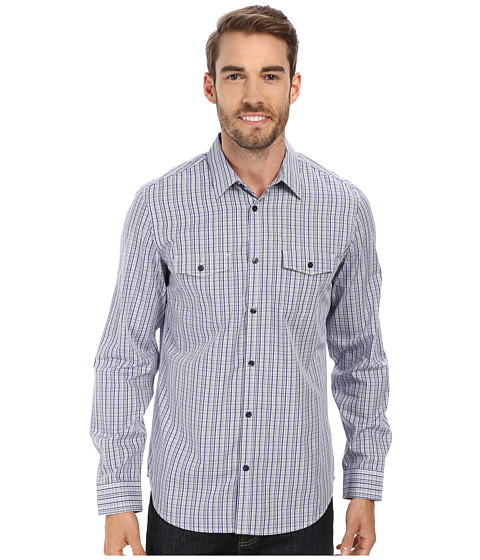 Calvin Klein - High-Low Corded Dobby Woven Shirt (Blue Depths) Men