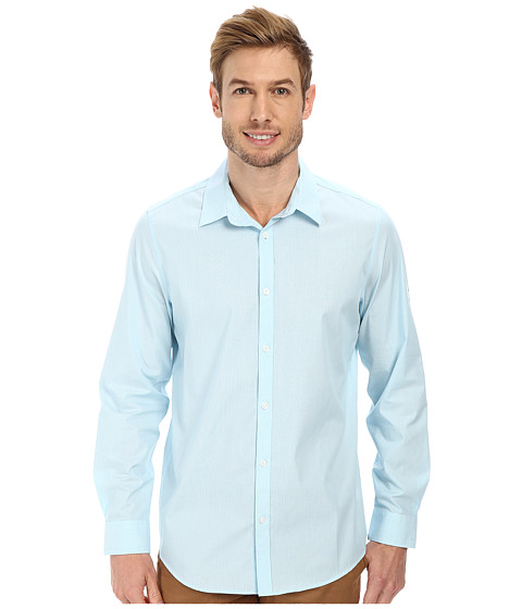 Calvin Klein - Non-Iron Stripe Woven Shirt (Light Teal) Men's Long Sleeve Button Up