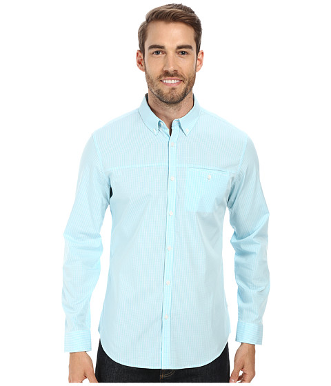 Calvin Klein - Mini Gingham Check Woven Shirt (Light Teal) Men
