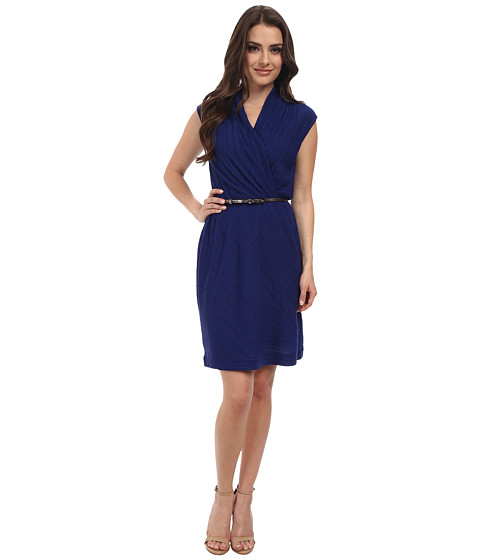 NIC+ZOE - Petite Angeled Pleats Dress (Blue Roma) Women's Dress