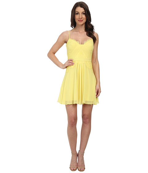 BCBGMAXAZRIA - Katalina Lace Blocked Bodice Dress (Canary) Women's Dress