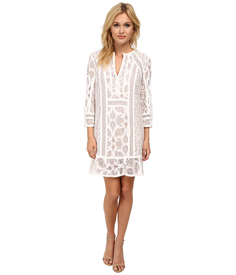 BCBGMAXAZRIA - Sofee Lace Blocked Tunic Dress (White) Women's Dress