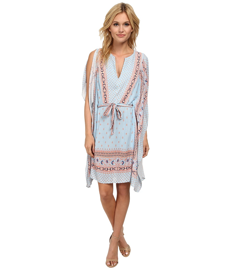 BCBGMAXAZRIA - Alexi Printed Short Kaftan (Pale Blue Combo) Women's Dress