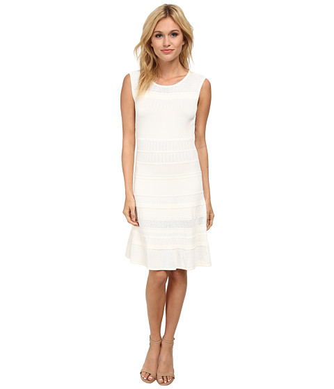 BCBGMAXAZRIA - Wilma Multi Stitch A Line Dress (Gardenia) Women