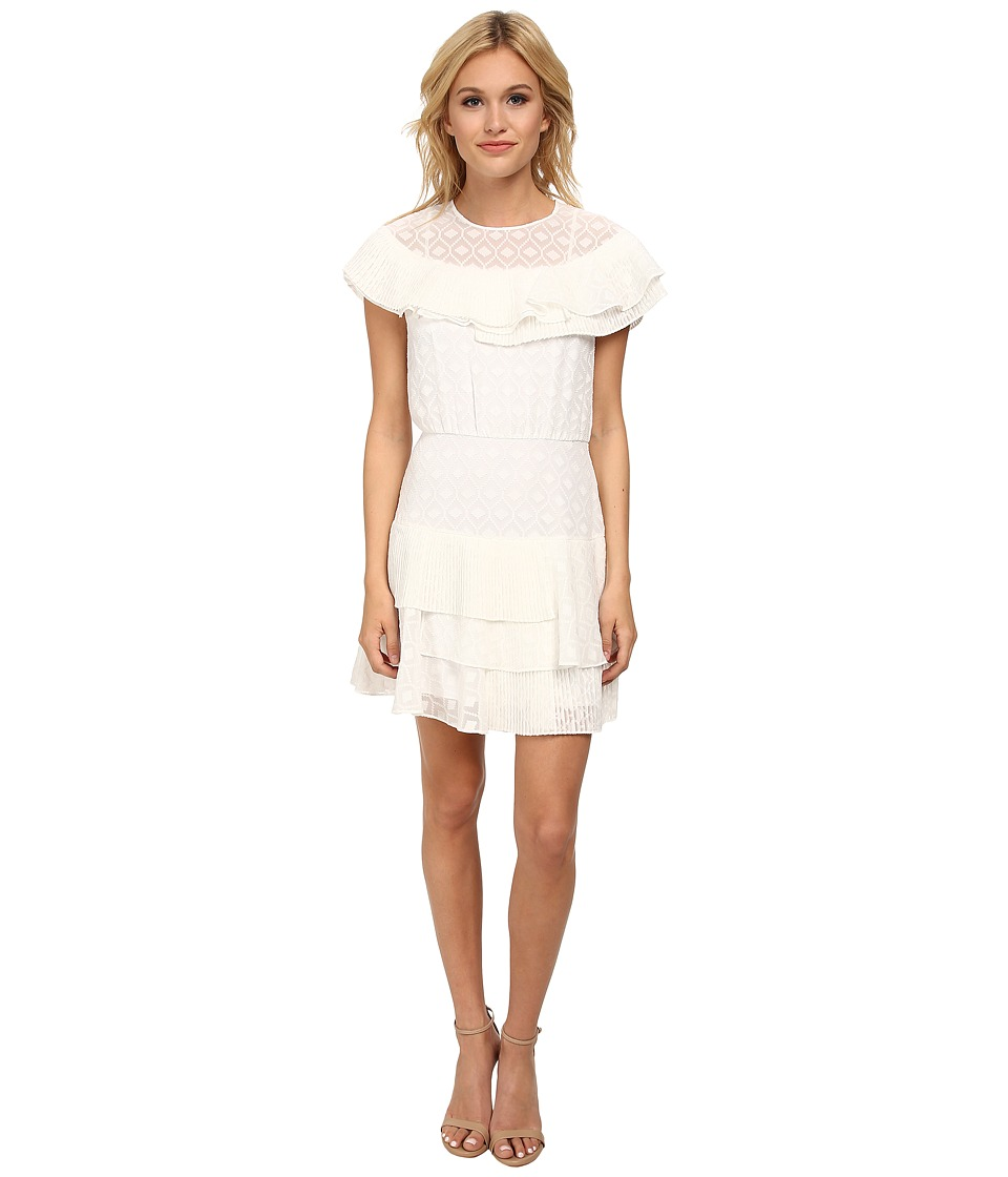 BCBGMAXAZRIA - Charlete Ruffle Tiered Dress (White) Women's Dress