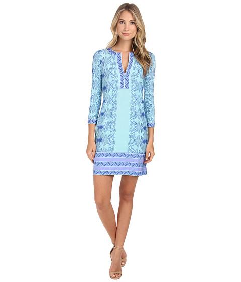 BCBGMAXAZRIA - Hayden Printed Shift Dress (Dark Breeze Combo) Women