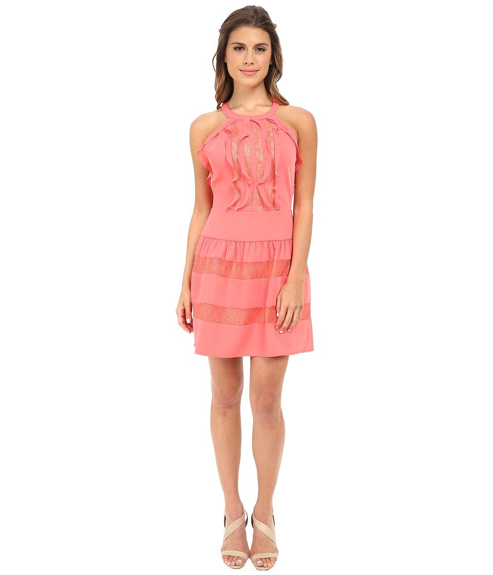 BCBGMAXAZRIA - Katrine Ruffle Halter Dress (Coral Reef) Women's Dress