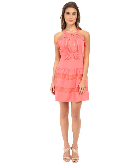 BCBGMAXAZRIA - Katrine Ruffle Halter Dress (Coral Reef) Women