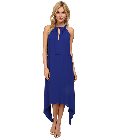 BCBGMAXAZRIA - Keelie Keyhole Front Halter Dress (Royal Blue) Women's Dress