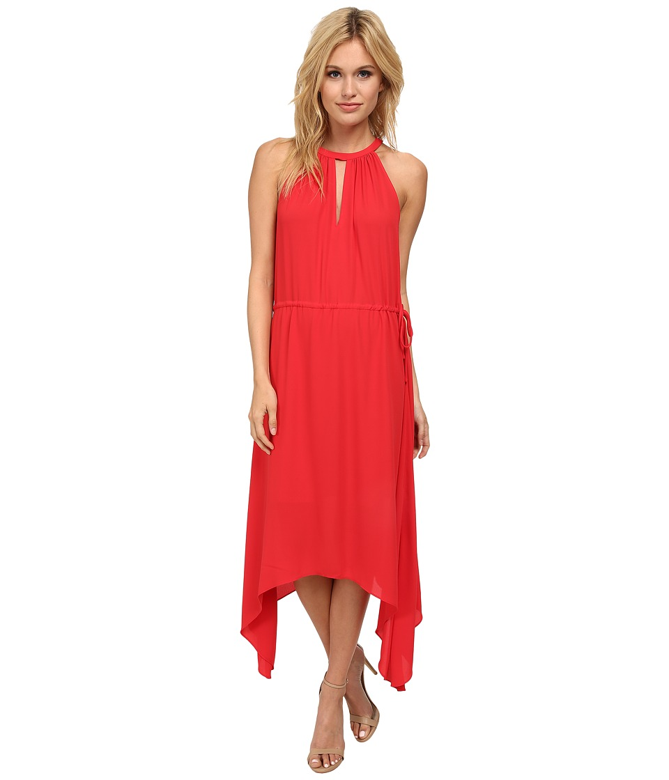 BCBGMAXAZRIA - Keelie Keyhole Front Halter Dress (Lipstick Red) Women's Dress
