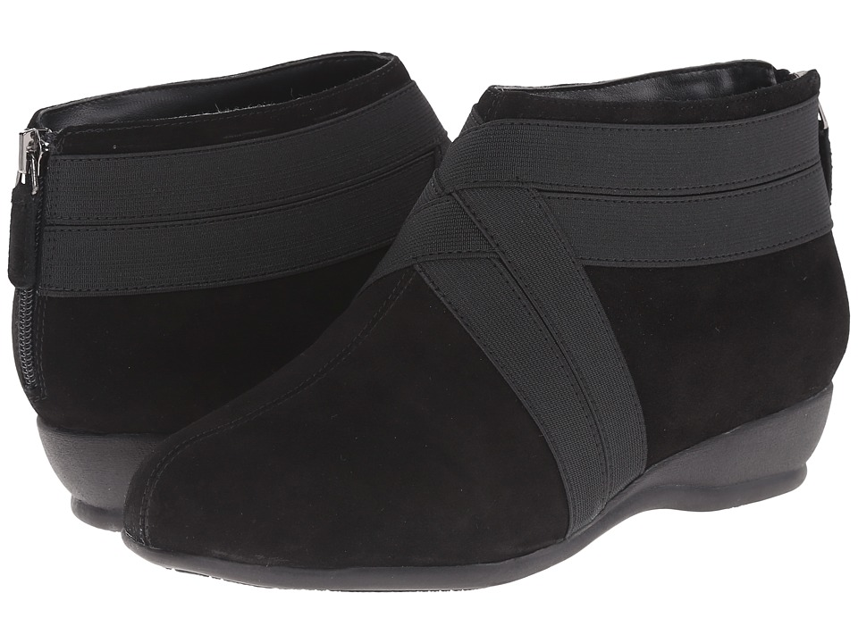 Trotters Latch (Black Cow Suede Leather/Elastic) Women