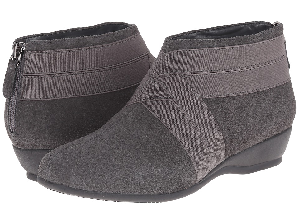Trotters - Latch (Dark Grey Cow Suede Leather/Elastic) Women