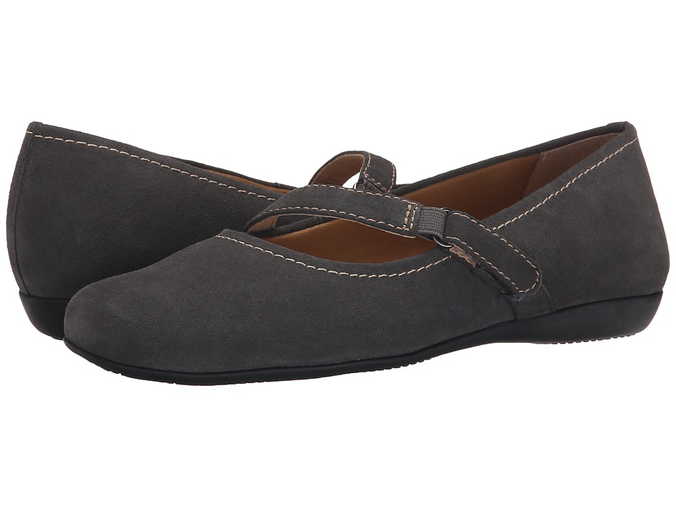 Trotters - Simmy (Graphite Cow Suede Leather) Women's Flat Shoes