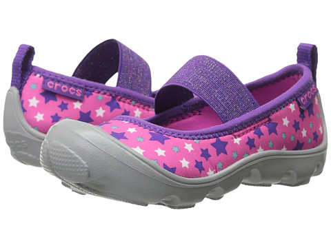 Crocs Kids - Duet Busy Day Galactic Mary Jane (Toddler/Little Kid) (Neon Magenta/Light Grey) Girls Shoes