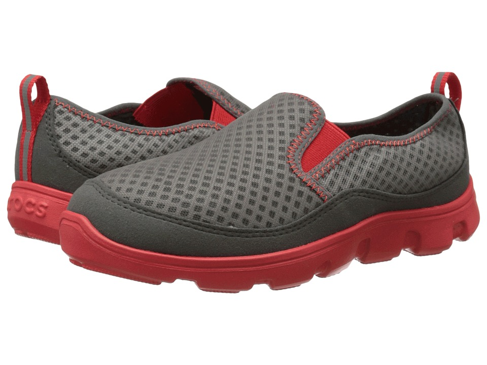 Crocs Kids - Duet Sport Mesh Slip-On (Little Kid/Big Kid) (Graphite/Flame) Boys Shoes