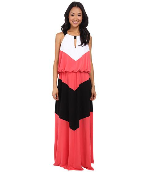 London Times - Key Hole Blouson Colorblock Ma (Coral Reef) Women's Dress