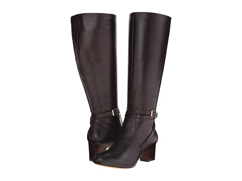 Trotters - Peaches Wide Calf (Dark Brown Full Grain Soft Nappa Leather) Women's Wide Shaft Boots