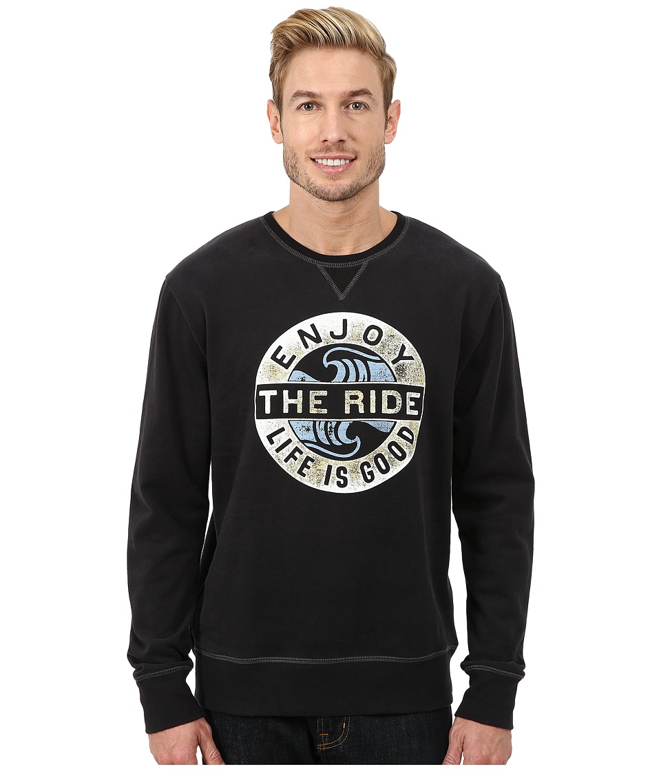Life is good - Go-To Crew (Night Black) Men's Long Sleeve Pullover