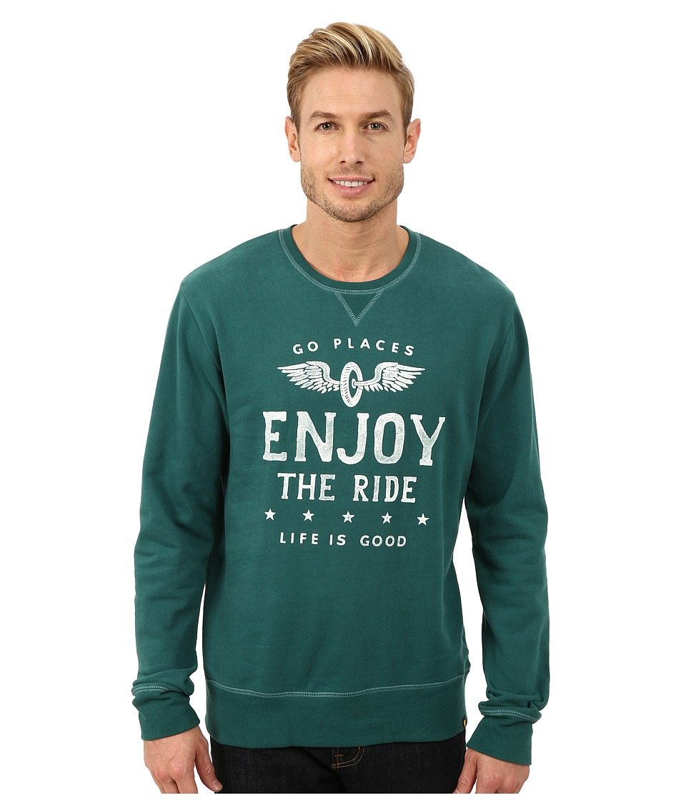 Life is good - Go-To Crew (Hunter Green) Men's Long Sleeve Pullover
