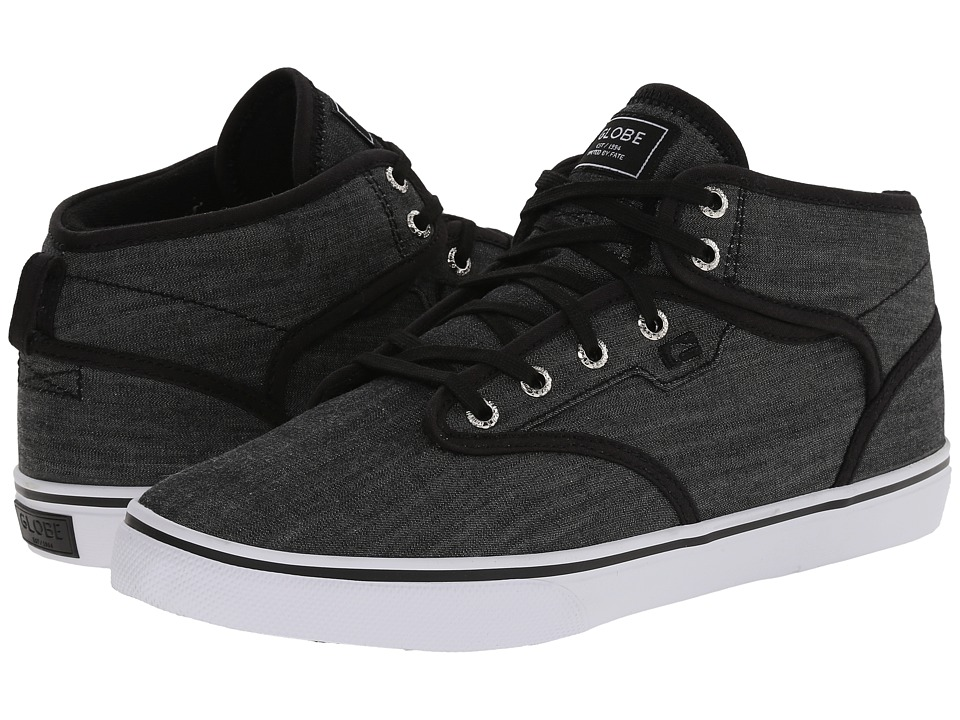 Globe - Motley Mid (Black Chambray) Men's Skate Shoes