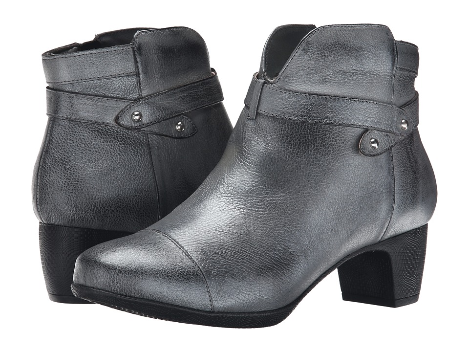 SoftWalk - Ivanhoe (Pewter Antique Metallic Leather) Women's Zip Boots