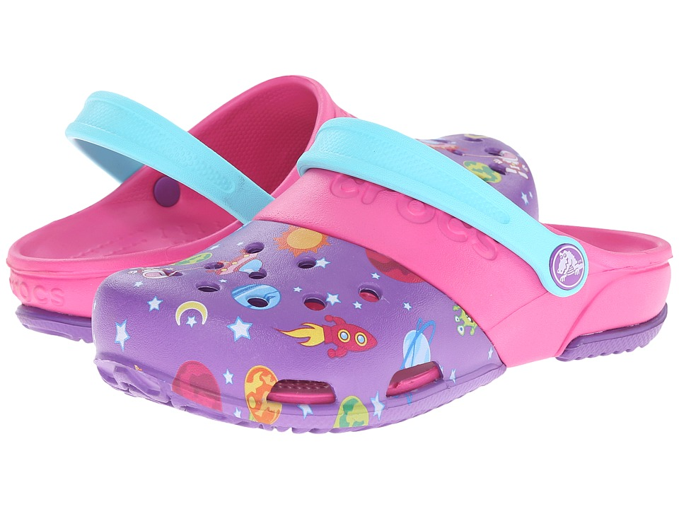 Crocs Kids - Electro II Galactic Clog (Toddler/Little Kid) (Neon Purple/Neon Magenta) Kids Shoes