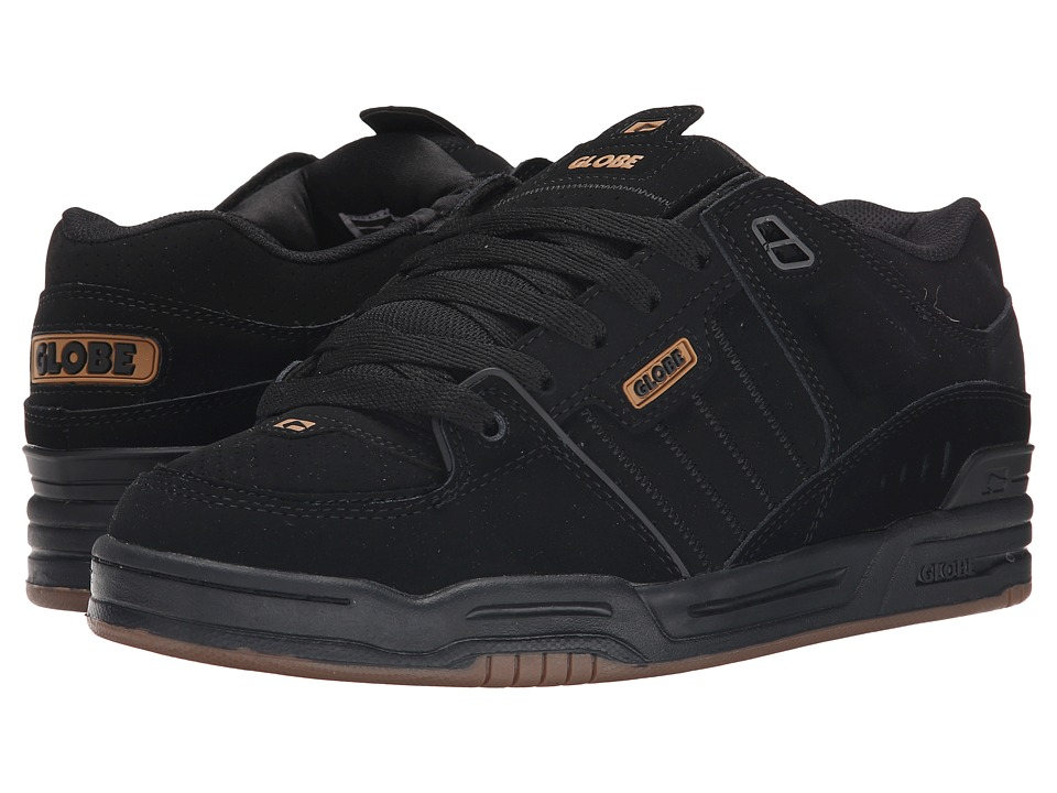 Globe - Fusion (Black/Black/Brown) Men's Skate Shoes