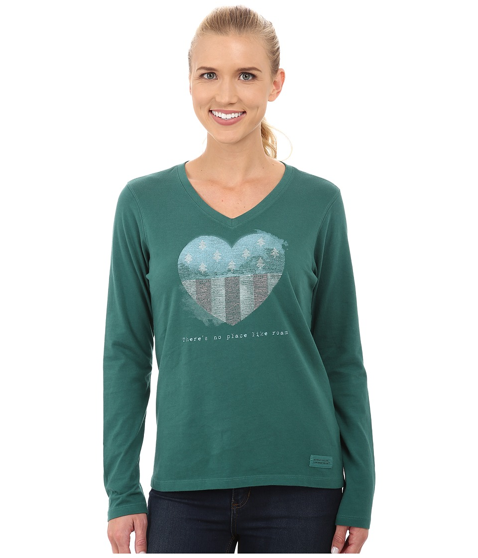 Life is good - Crusher Vee Long Sleeve Tee (Heart Tree Flag/Hunter Green) Women's Long Sleeve Pullover