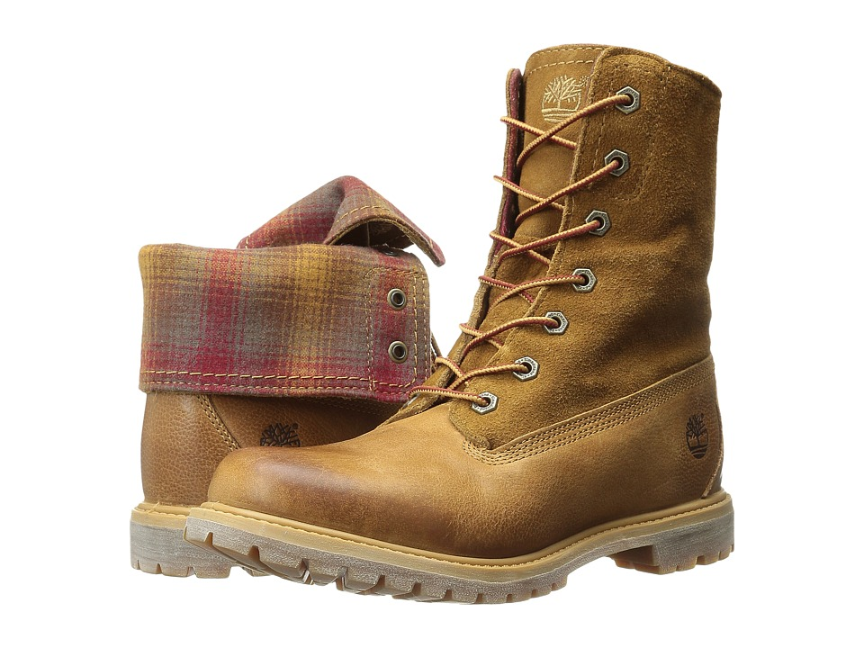 Timberland - Authentics Fabric and Leather Fold-Down (Wheat Woodlands/Red Pendleton Wool) Women's Boots