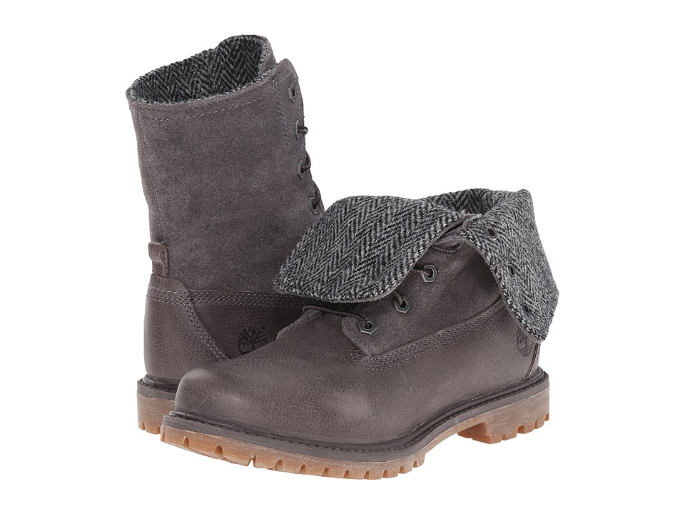 Timberland - Authentics Fabric and Leather Fold-Down (Dark Grey Woodlands/Grey Harris Tweed Wool) Women's Boots