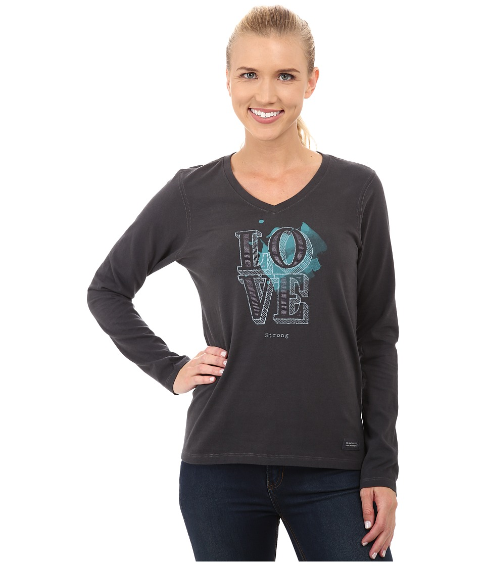 Life is Good - Crushertm Vee Long Sleeve Tee (Engraved Love Strong/Night Black) Women's Long Sleeve Pullover