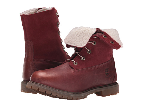 Timberland - Authentics Teddy Fleece Fold-Down (Port Rugged Metallic Finish) Women's Lace-up Boots
