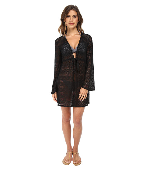 Jantzen - Crochet Open Front Tunic Cover Up (Black) Women