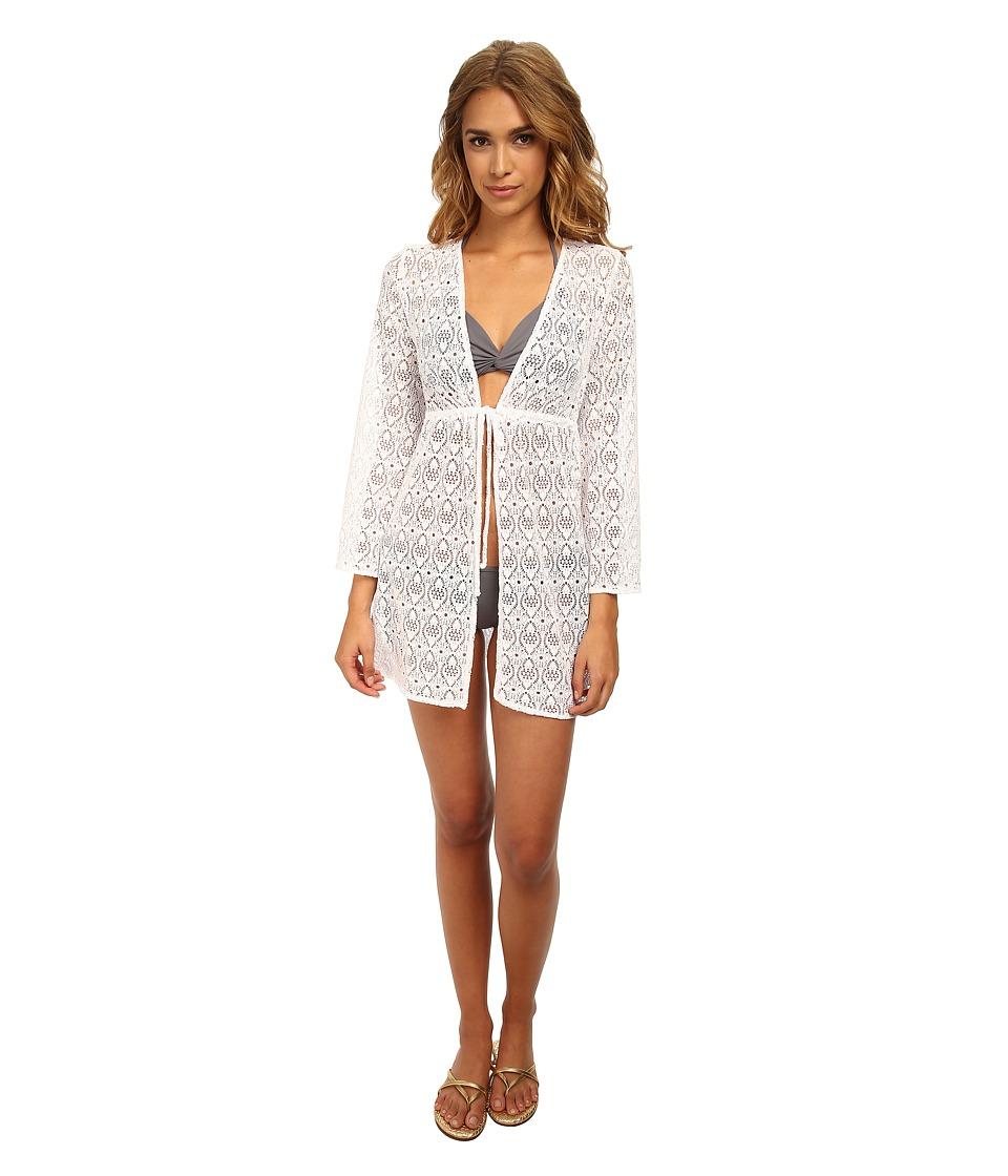 Jantzen - Crochet Open Front Tunic Cover Up (White) Women's Swimwear