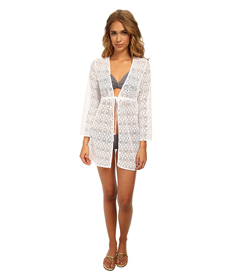 Jantzen - Crochet Open Front Tunic Cover Up (White) Women