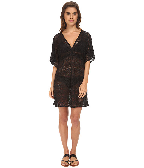 Jantzen - Crochet V-Front Tunic Cover Up (Black) Women