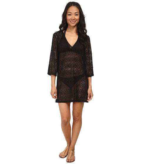 Jantzen - Crochet Three-Quarter Sleeve Tunic Cover Up (Black) Women