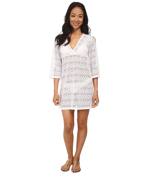 Jantzen - Crochet Three-Quarter Sleeve Tunic Cover Up (White) Women's Swimwear