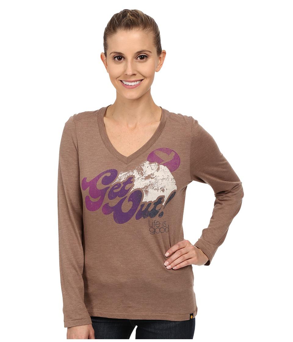 Life is Good - Cool Vee Long Sleeve Tee (Mocha Brown) Women's Long Sleeve Pullover
