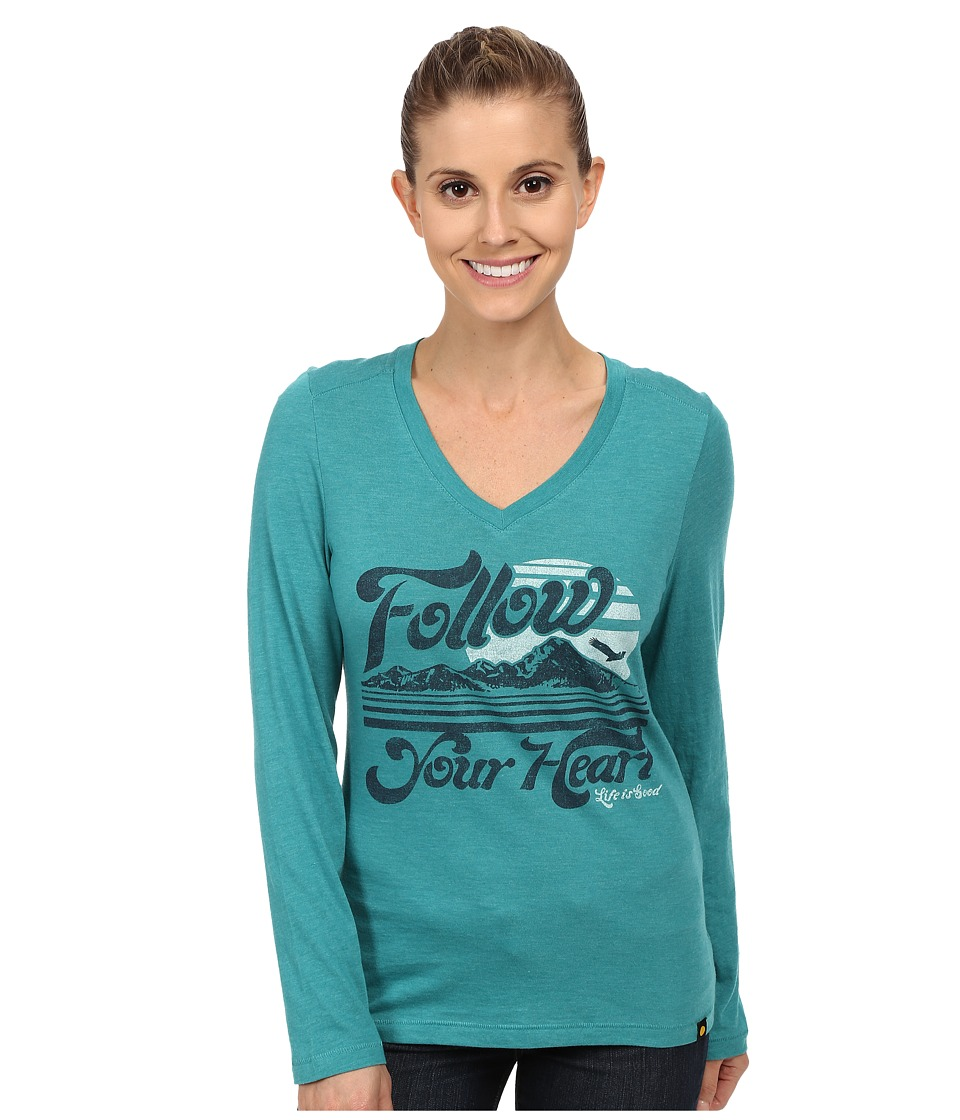 Life is good - Cool Vee Long Sleeve Tee (Teal Blue) Women's Long Sleeve Pullover