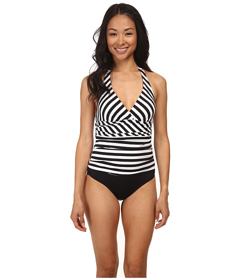 Jantzen - Harbour Beauty Stripe V-Neck Halter One Piece (Black) Women's Swimsuits One Piece