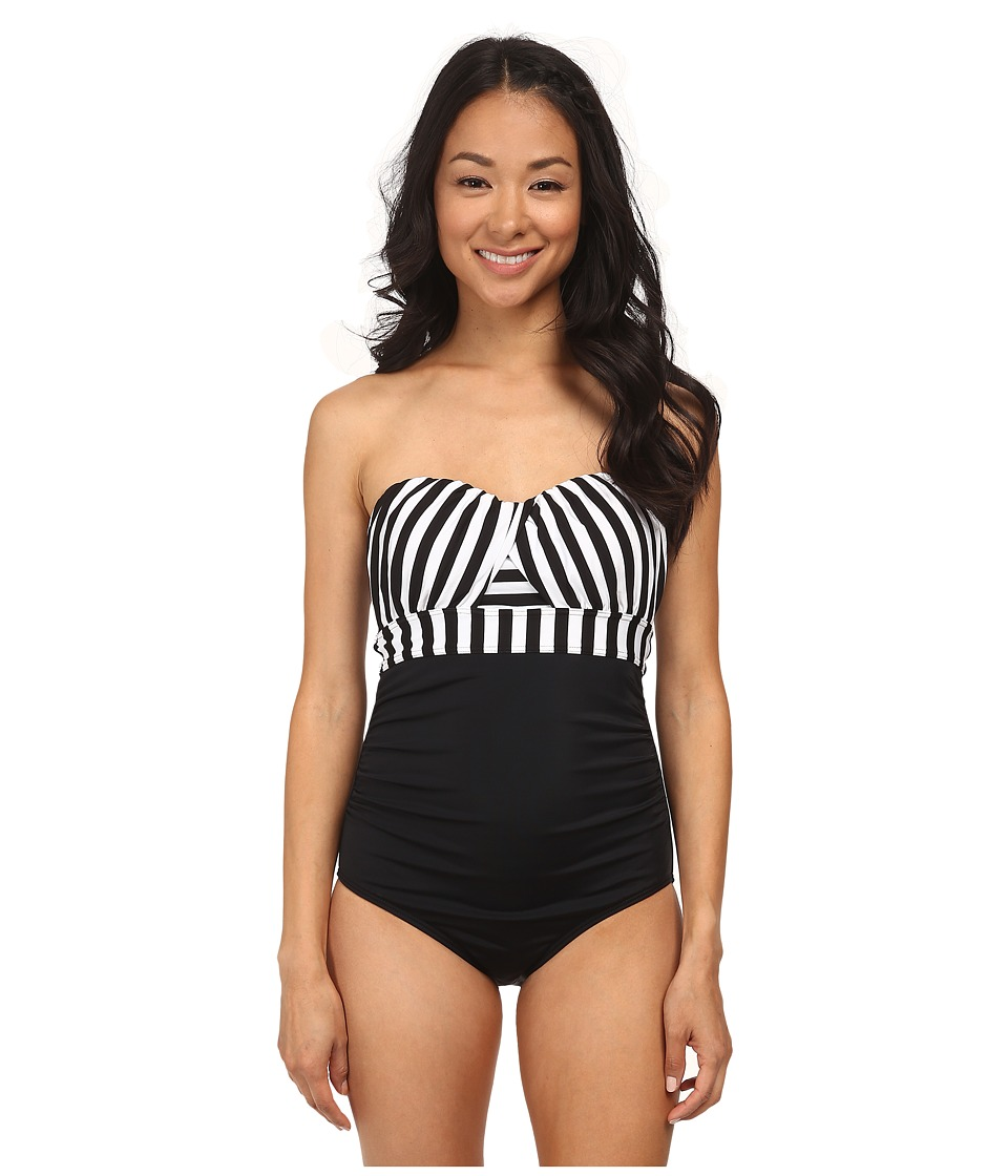 Jantzen - Harbour Beauty Stripe Wrap Up Bandeau One Piece (Black) Women's Swimsuits One Piece