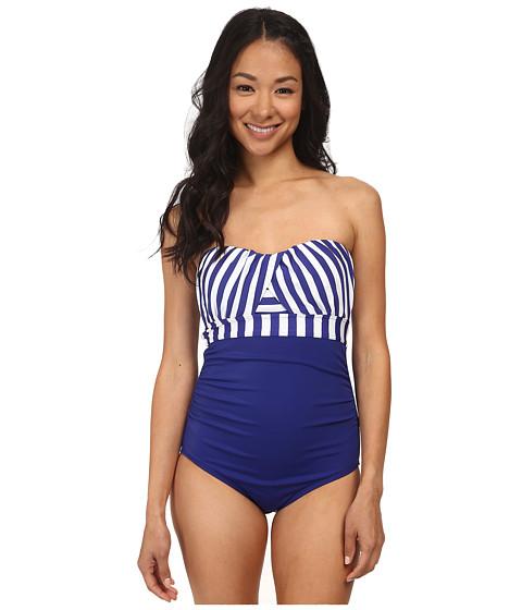 Jantzen - Harbour Beauty Stripe Wrap Up Bandeau One Piece (Ink Blue) Women