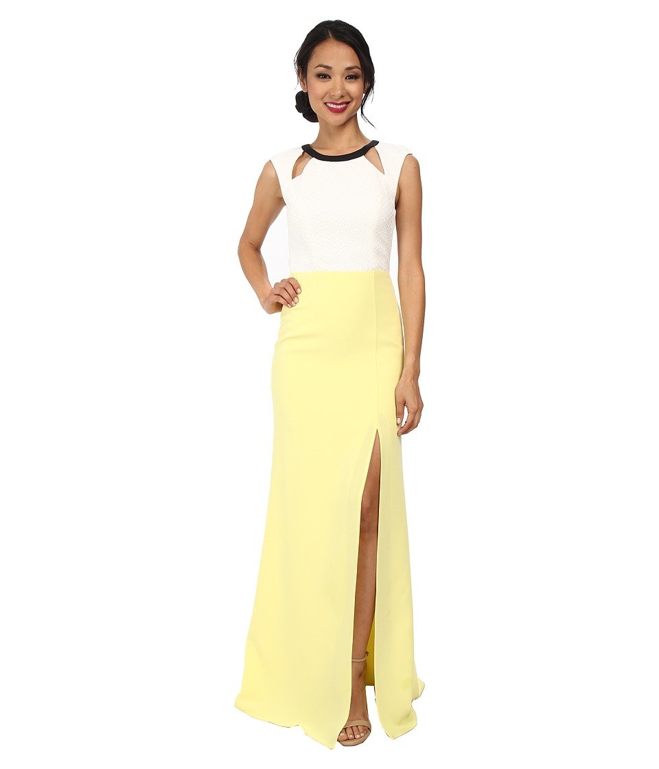 ABS Allen Schwartz - Color Block Gown w/ Cutouts (Lime) Women's Dress