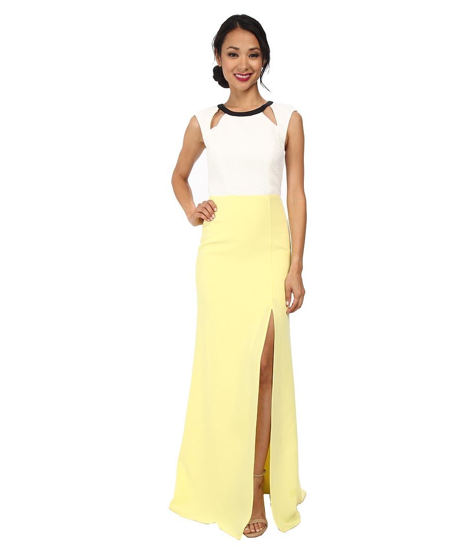 ABS Allen Schwartz Color Block Gown w/ Cutouts (Lime) Women