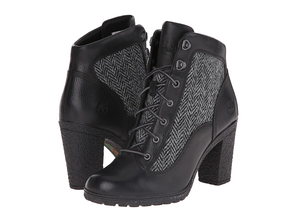 Timberland - Glancy Fabric and Leather Hiker (Jet Black Woodlands/Grey Harris Tweed Wool) Women