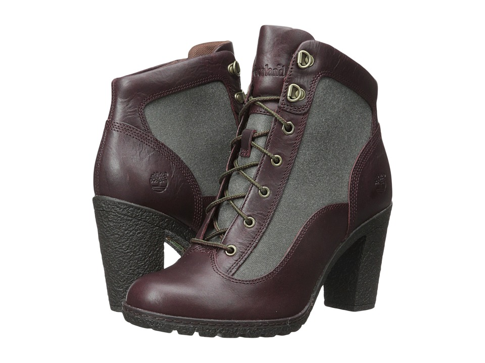 Timberland - Glancy Fabric and Leather Hiker (Burgundy Euroveg/Dark Green ReCanvas Fabric) Women